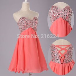 Wholesale real samples sexy beaded rhinestone sweetheart bodice corset prom dress short coral homecoming dresses