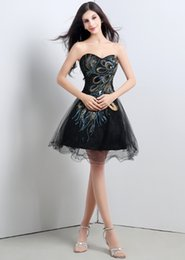 Wholesale 2015 Amazing Black Short Party Dresses A Line Cocktail Homecoming Dresses Lace Up Sleeveless Short Prom Formal Ball Gowns Sequins Stock A001