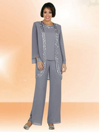 Wholesale Evening Pant Suits For Women Gray Dresses and Jacket Set Custom Make Long Sleeve Mother Of the Bride Pant Suit