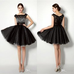 Wholesale 2016 Cheap Little Black Homecoming Dresses Jewel Neck Cap Sleeve Beaded Short Cocktail Party Dresses CPS189