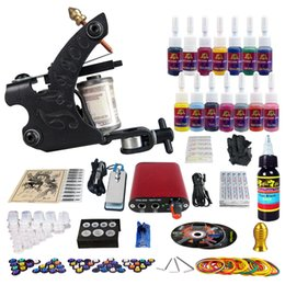 Wholesale Complete Tattoo Kit Pro Machine Guns Inks Power Supply Needle Grips ink cups and tips TK101