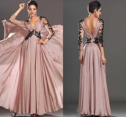 Wholesale 2016 New Vintage Prom Dresses Sheer V neck Chiffon Floor Length Long Sleeves Evening Dresses With Applique Beads Plus Size Party Gowns