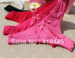 2017 underwear sell Wholesale-New Sexy Lace VS hot sell Victoria women lingerie T-back Thong G-string underwear briefs LACE bow pink panties Free Ship underwear sell for sale