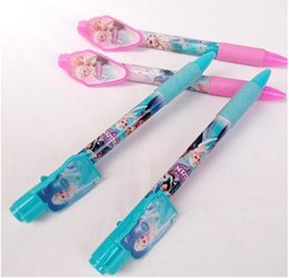2017 pen refills blue color Adventures in FROZEN ice colors, blue elsa pen and red Anna ball-point pen,Frozen ballpoint pen double color pen lovely design