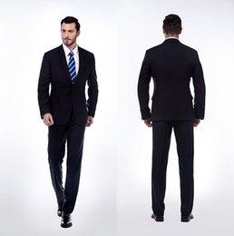 Wholesale 2015 Mens Tuxedo Black Custom Wedding Suits for Boys Wedding Groom Tuxedo Tailored Piece Suit Jacket Pants Tie