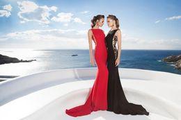 Wholesale Mermaid Evening Dresses Crew Tarik Ediz Sweep Train Lace Spandex Sexy Formal Party Pageant Celebrity Gowns zahy317