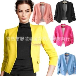 Wholesale 2015 Summer Blazer feminino Chaquetas Mujer OL Work Candy Color Thin Outerwear Coat Short Blazer Hot Sexy Women Casual Suit Jacket OXL051301