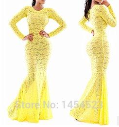 Wholesale 2014 vestido de renda longos autumn women lace yellow elegant floral long sleeve dresses cocktail bodycon evening party dress
