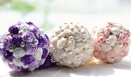 Wholesale 2015 Bride Bouquet with Rhinestone Satin Ribbon Pearl Flower Ball Creative Wedding Supplies cm High Quality
