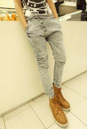 Оптовые Mens-Гарем Джинсы 2015 Новый стильный Мода падения мужчина Багги Низкий промежность Тощий хип хип джинсы джинсовые брюки Мужские