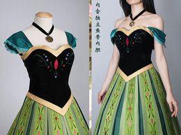 Wholesale 2015 New Arrival Adult Women Matte Satin Hot Sale Custom Frozen Princess Anna Coronation Outfit Dress Cosplay Costume