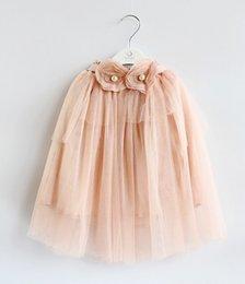 Wholesale Korean Spring Gauze Flower Pearls Children Girls Bust Dress New Tulle Ruffle Child Princess Short Dresses Baby Skirts Pink Purple L2072
