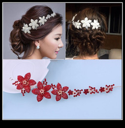Wholesale Cheapest Red And White Bridal Accessory Wedding Tiaras Hair Accessories Crystal Fascinator Korean Style Summer Headpiece Bride QM