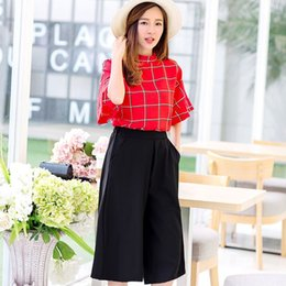 Wholesale Summer New Chiffon sports suit T shirt Baggy Pants Casual Plaid Suit Female costume for women dropshipping AG6817