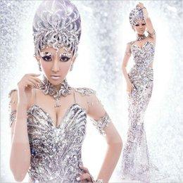 Wholesale Los vestidos de plata de las cequis de las mujeres atractivas al por mayor más nuevas visten los vestidos del funcionamiento de la etapa del equipo de Cosplay del traje de la sirena de Víspera de Todos los Santos