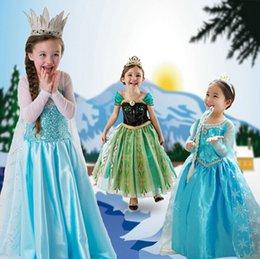 Wholesale Hot Frozen Princess Anna Elsa Dress Girls Cosplay Princess Queen Halloween Girl Dresses Theme Costume Christmas Xmas Gift
