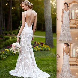 Wholesale 2015 Vintage White Lace Backless Wedding Dresses Mermaid V neck Spaghetti Straps Bridal Gowns Garden UK Custom Made Bride Dress Hawaiian