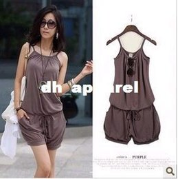 Wholesale 2015 overalls for Women summer new Fashion Sexy Sleeveless Rompers and Short ladies Jumpsuit Casual womens Jump suit pants