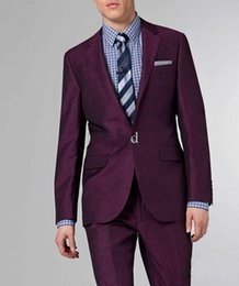 Wholesale New Men Suit Custom made new purple Suit Two button wool wedding suits groom tuxedo suit for mens Business Tuxedos Jacket Pant