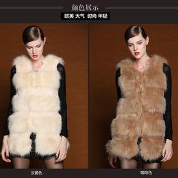 Wholesale Lady Vests Shawl Clothing Fashion European Style Faux Fur Vest Winter Warm Coat Outwear Long Hair Jacket Waistcoat Tops