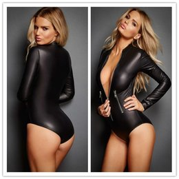 Wholesale Adult Leather Lingerie Sexy Catsuit Costumes For Women PVC Long Sleeves Zipper Front Wet Look Dress Cosplay Costumes L6536
