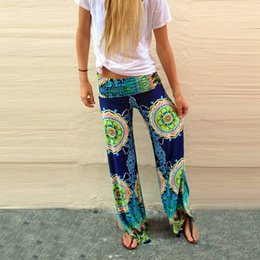Wholesale 2016 Plus Size Womens Floral Print Wide Leg Palazzo Trousers Summer Beach Pants CL00766