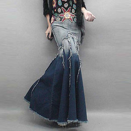 Wholesale Plus Pleated Sexy Fashion Vintage plissé Tassel Mermaid Fishtail Long Denim Maxi jupe Bohemia Sun Jeans jupe longue pour les femmes