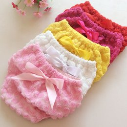 Wholesale Baby girl kids infant toddler Cotton Underwear bloomers shorts short Rose flowers Briefs BB pants with bow Children s Shorts