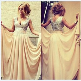 Wholesale In stock long chiffon junior Champagne bridesmaid dresses A line v neck cap sleeves sequins beaded top chiffon skirt backless empire party