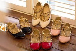 Wholesale Hotsale Princess Girls Leather Shoes Spring Autumn For Big Girl PU Rivet Soft Flat Dance Shoe White Black Pink Red Yard I3348