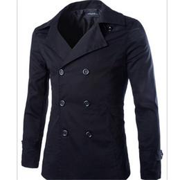 Discount Short Black Trench Coat Men | 2017 Short Black Trench ...