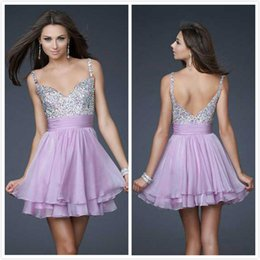 Wholesale Glamorous Spaghetti Party Dresses Crystals Beads V Neck Belts For Women Two Layer Chiffon Short Light Purple Formal Homecoming Gowns