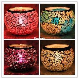 Decoração de casa mosaico de vidro lanterna Castiçais de bar KTV casamento Candlestick