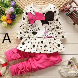 Wholesale Hot Sale New spring Mickey children clothes suits cartoon Minnie Mouse polka dot long sleeve T shirts pants girls suit kids clothing