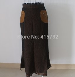 Wholesale New Fashion Long Maxi Skirt For Women Brown Formal Double Slits Skirt With Pockets Spring And Autumn Skirts ladies skirts
