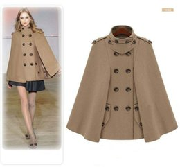 Wholesale 2014 European Winter Poncho Women Fashion Manteau Femme Double Breasted Womens Peacoat Poncho Wool Womens Capes and Ponchoes