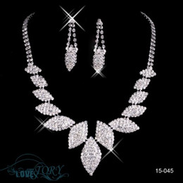 Wholesale Cheap Rhinestone Jewelry Necklace Earring Set Real Image Lobster clasp Party Prom Wedding Quinceanera Dresses Earrings Necklace