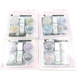 Wholesale Glitter Tattoo Complete Kits Temporary Tattoos set Colors Arm Chest Tattoos Diy