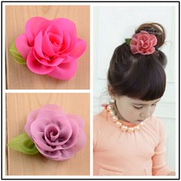Wholesale New Children Baby Hair Clip Chiffon Floral with Leaf Hair Accessories Fabric Flower