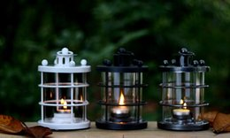 Wholesale Iron Metal Glass Matrial Table Top Lantern Candle Holder