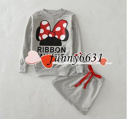 Wholesale Children s Outfits girls minnie skirt minnie blouses sweatshirt skirt casual set minnie mouse dress set hoodie long sleeve children clothing