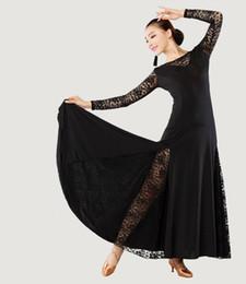 Wholesale Ladies Latin Rumba Tango Cha cha Dance Costume Round Neck Lace Collar Sleeves Long Dress Dancewear tl075