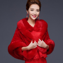 Wholesale 2015 Spring red Wrap Shawl Coat Jackets Boleros Shrugs Regular Faux Fur Stole Capes Wedding Special Occasion Shawl
