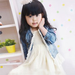 Wholesale 2014 Baby girl Fashion Casual lace denim Jackets Girls Cute Tops Children Clothing Kids lace Denim Coats Children Jacket C001