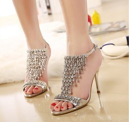Wholesale 2015 Hot Sale High Heel Gold Silver Rhinestone Shoes Wedding Shoes Sandal Bridal Shoes Evening Prom Shoes