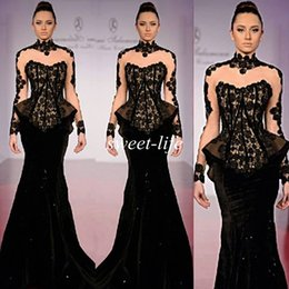 Wholesale Black Long Sleeves Formal Evening Dresses Illusion High Neck Vintage Lace Mermaid Satin Peplum Rami Salamoun Celebrity Dress Prom Gowns