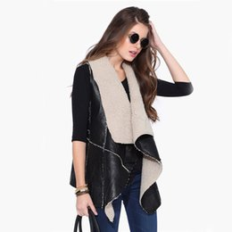 Wholesale 2015 New Women Faux Fur Coats Waistcoat Winter Sleeveless Vest For Women Plus Size Fashion Outwears Women Clothing Black Lapel Neck