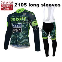 2015 Tinkoff Saxo Bank Man Maillot manches longues Jersey Polyester + Coolmax Maillot et pantalons Vêtements Vêtements Équipe Fluo vert