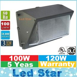 UL DLC Aprobar exterior de pared LED Light Pack 100W 120W pared Industrial Monte Iluminación LED Luces del día 5000K AC 90-277V Con Mean Well Conductor
