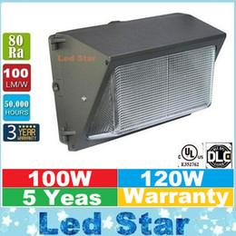 UL DLC Одобрить Открытый Светодиодный настенный пакет Light 100W 120W Промышленные Настенный LED освещение Daylights 5000K AC 90-277V С Mean Well Driver